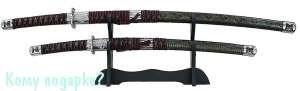Набор самурайских мечей: катана и вакидзаси на подставке, l=100 см, 002 - фото 42571