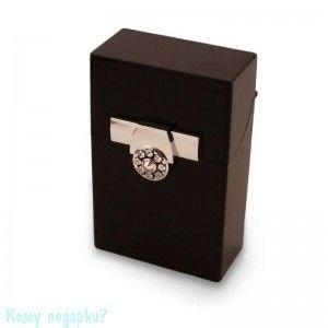 Портсигар, 9,5x6x3 см, чёрный, серебро - фото 42738