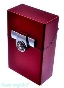 Портсигар, 9,5x6x3 см, красный, серебро - фото 42742