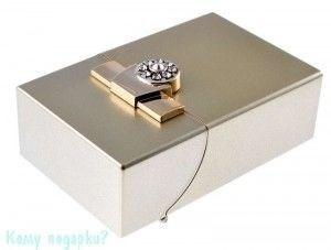 Портсигар, 9,5x6x3 см, золотой - фото 42746