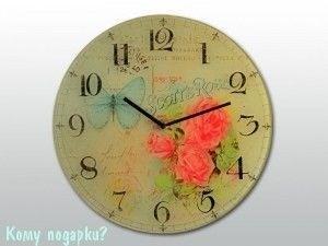 """Настенные часы """"Бабочка и розы"""" - фото 42982"""