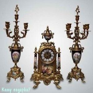 Набор для камина: часы, 23x42 см и два подсвечника, h=50 см - фото 43248
