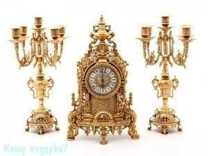 Комплект: каминные часы и 2 подсвечника, h=41 см - фото 43250