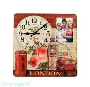 """Коллаж-ключница с часами """"Лондон"""", 40x40 см - фото 44292"""