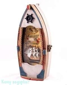 Коллаж-ключница «Рыбацкое судно», 30x13 см - фото 44765