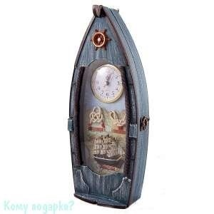 Коллаж-ключница с часами «Рыбацкое судно», 16x7x39 см - фото 44811