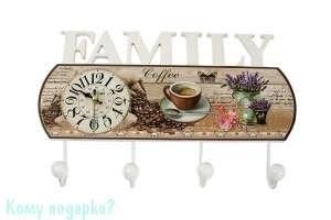 Коллаж-ключница с часами «Family», 40x26 см - фото 44812