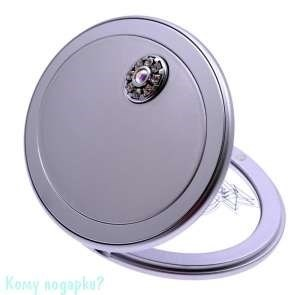 """Зеркало с кристаллами """"Silver"""", 3-кратное увеличение, компактное - фото 47452"""