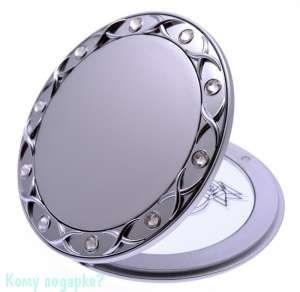 "Компактное зеркало ""Silver"", с кристаллами - фото 47459"