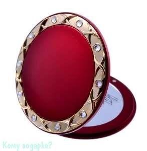 """Зеркало компактное """"Red&Gold"""", 5-кратное увеличение, с кристаллами - фото 47460"""