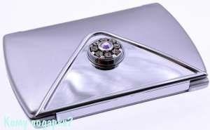 """Компактное зеркало """"Silver"""", 3-кратное увеличение, с кристаллами - фото 47464"""