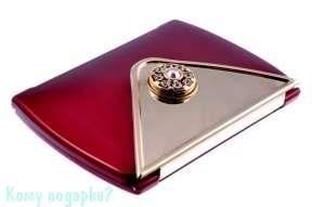 """Зеркало компактное """"Red&Gold"""", 3-кратное увеличение, с кристаллами - фото 47465"""