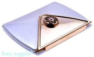 "Зеркало компактное ""WPearl&Gold"", 3-кратное увеличение, с кристаллами - фото 47467"