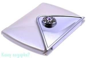 "Зеркало компактное с кристаллами ""WPearl"", 3-кратное увеличение - фото 47468"