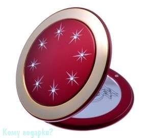 """Компактное зеркало с кристаллами """"Red&Gold"""", 5-кратное увеличение - фото 47489"""