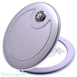 """Зеркало компактное """"Silver"""", 3-кратное увеличение, с кристаллами - фото 47621"""
