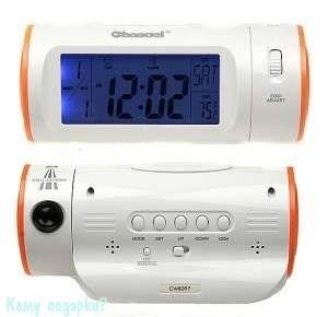 Электронная метеостанция: часы, термометр, календарь, будильник,  17x9x8см - фото 48380