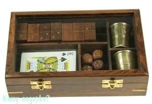 Подарочный набор игр: домино, игральные карты, кости, 2 стаканчика, 22x14x5см - фото 48447