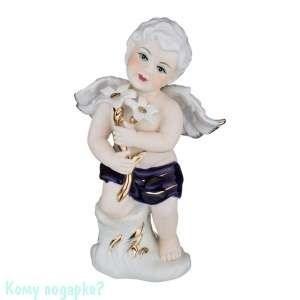Статуэтка фарфоровая «Ангел с белыми цветами», h=20 см - фото 48462