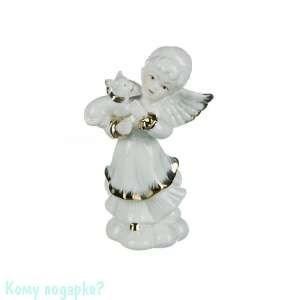 Фигурка «Белый ангелочек с котенком», h=13 см - фото 48472