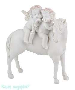 Фигурка «Два ангела на лошади», коллекция «amore», h=18 см - фото 48496