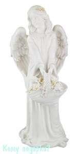 Фигурка «Ангел с корзинкой», коллекция «amore», h=66 см, белая - фото 48500
