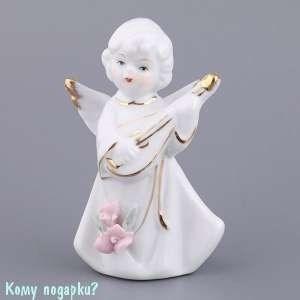 Фигурка фарфоровая «Ангел-музыкант с лютней», h=10 см - фото 48598