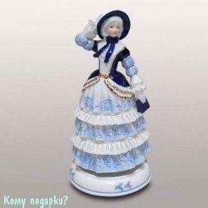 Статуэтка музыкальная «Девушка в синей шляпке», h=23 см - фото 49974