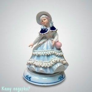 """Статуэтка музыкальная """"Девушка с розовой сумочкой"""", h=18 см - фото 50007"""