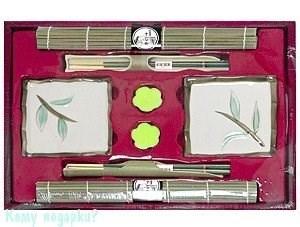 Набор для суши на 2 персоны, белый с рисунком - фото 50230