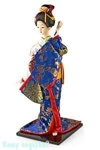 """Кукла декоративная """"Гейша с вером"""", h=40 см, синее кимоно - фото 50385"""