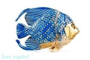 """Шкатулка для ювелирных украшений со стразами """"Рыбка"""", 9х6,5 см - фото 50445"""