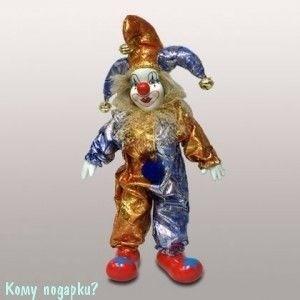 Фигурка  музыкальная «Клоун», h=29 см, сине-золотой - фото 50650