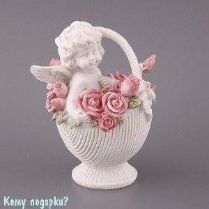 Фигурка «Ангелочек в корзине роз», коллекция «amore», h=13 см - фото 50832