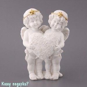 Фигурка «Два ангелочка в золотых венках с сердцем», коллекция «amore», h=16 см, l=12 см - фото 50839