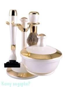 Набор для бритья из 3-ех предметов, белый, золото - фото 51023