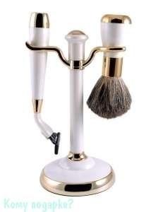 Набор для бритья, 2 предм., белый, золото - фото 51446