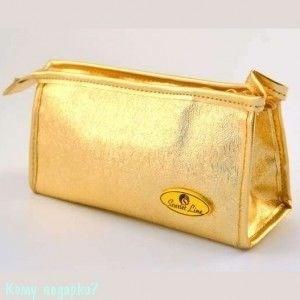 Косметичка, 175x50x85 мм, золотая - фото 51558