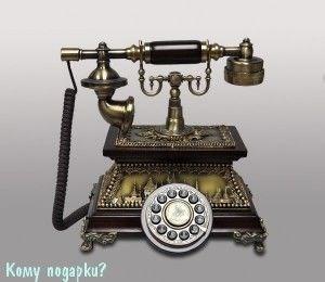 Ретро-телефон, дерево, полистоун - фото 52898