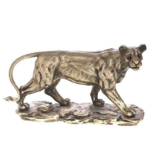Фигура декоративная Львица золото L10W29.5H17см - фото 68319