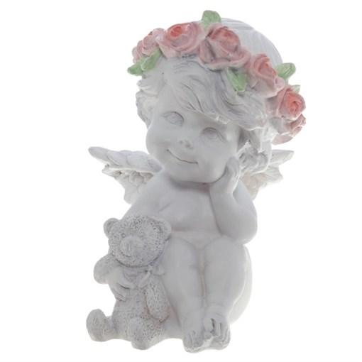 Фигура декоративная Ангелочек с медведем цвет: белый L9.5W9.5H13cм - фото 68328