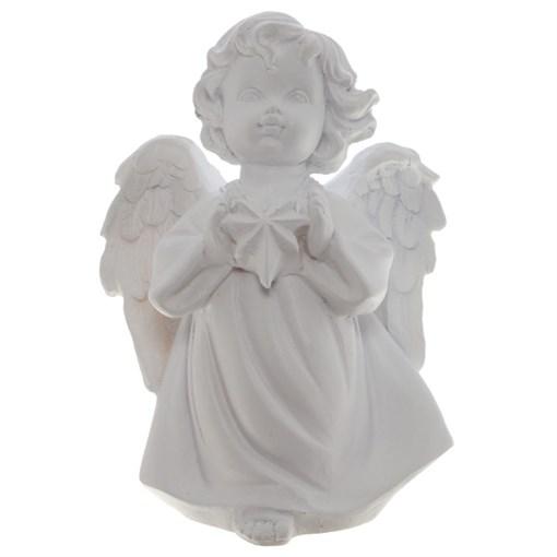 Фигура декоративная Ангелочек со звездочкой цвет: белый L11W8H15cм - фото 68329