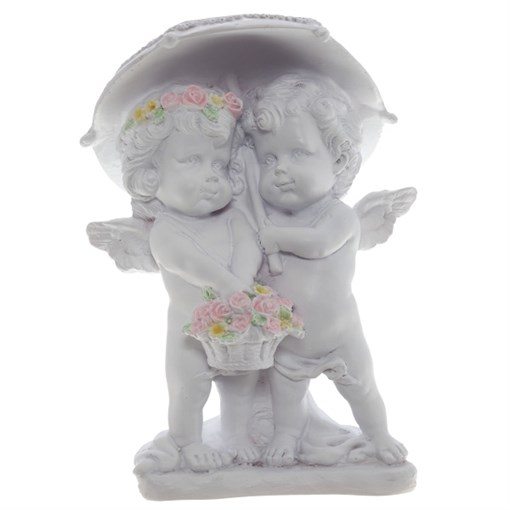 Фигура декоративная Ангелочки под зонтом цвет белый L11.5W9.5H15.5cм - фото 68330