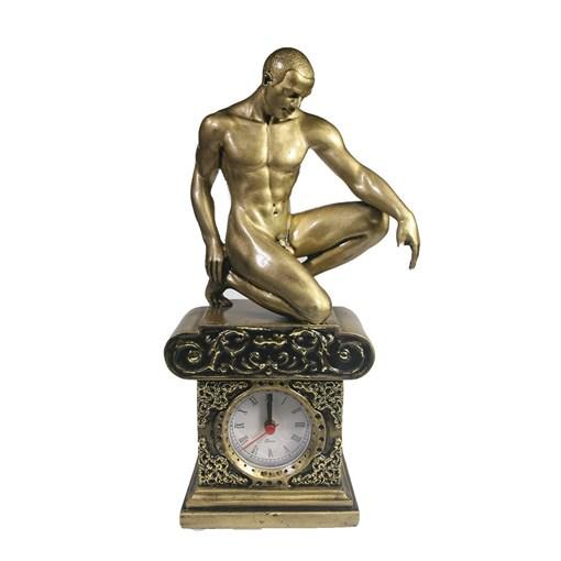 Часы настольные Атлет цвет: сусальное золото L11.5W7.5H26.5 см - фото 68358