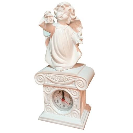 Часы настольные Ангел с фонариком цвет: белый Н25 см - фото 68363