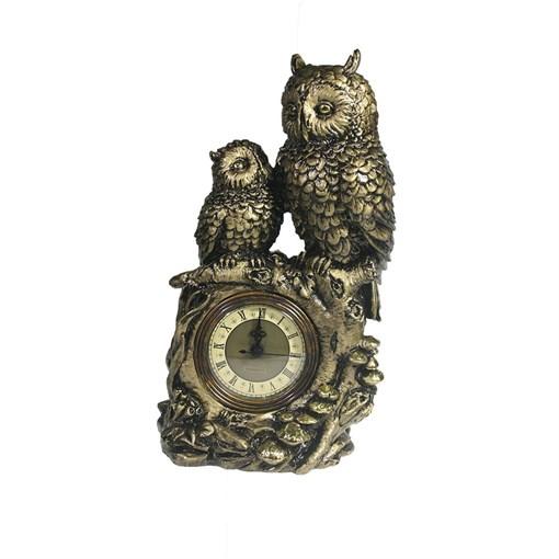Часы настольные Две совы цвет: сусальное золото L15.5W9H29.5 см - фото 68369