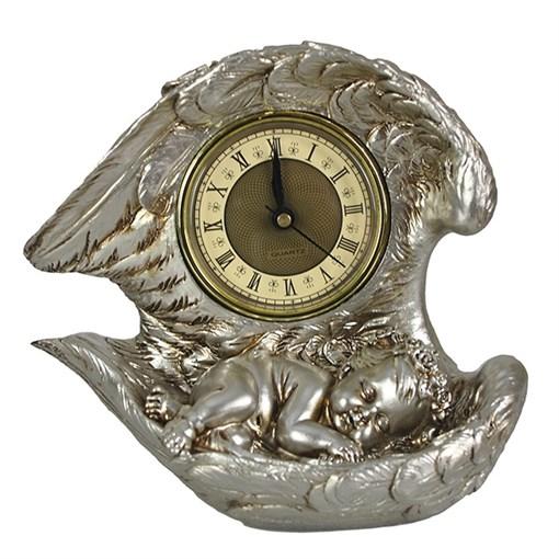 Часы настольные Ангел цвет: серебро L20W10H18 см - фото 68372