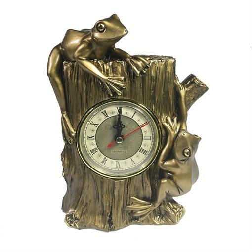 Часы настольные Две лягушки цвет: золото L9W15H21 см - фото 68377
