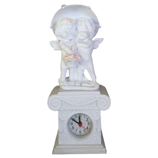 Часы настольные Ангелочки под зонтом цвет: белый Н26 см - фото 68379
