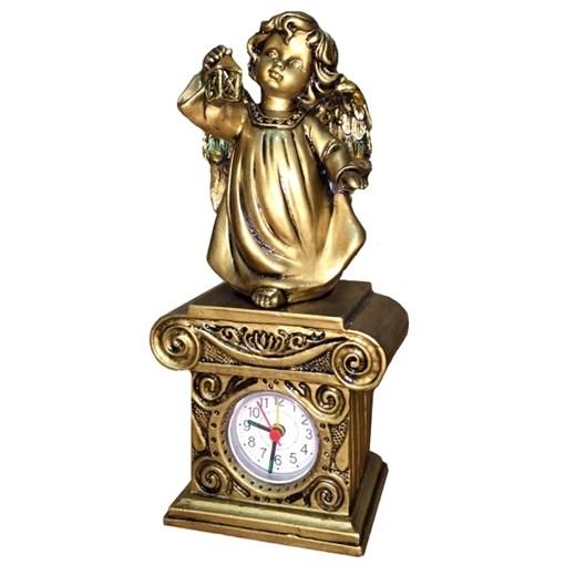Часы настольные Ангел с фонариком цвет: сусальное золото Н25 см - фото 68382